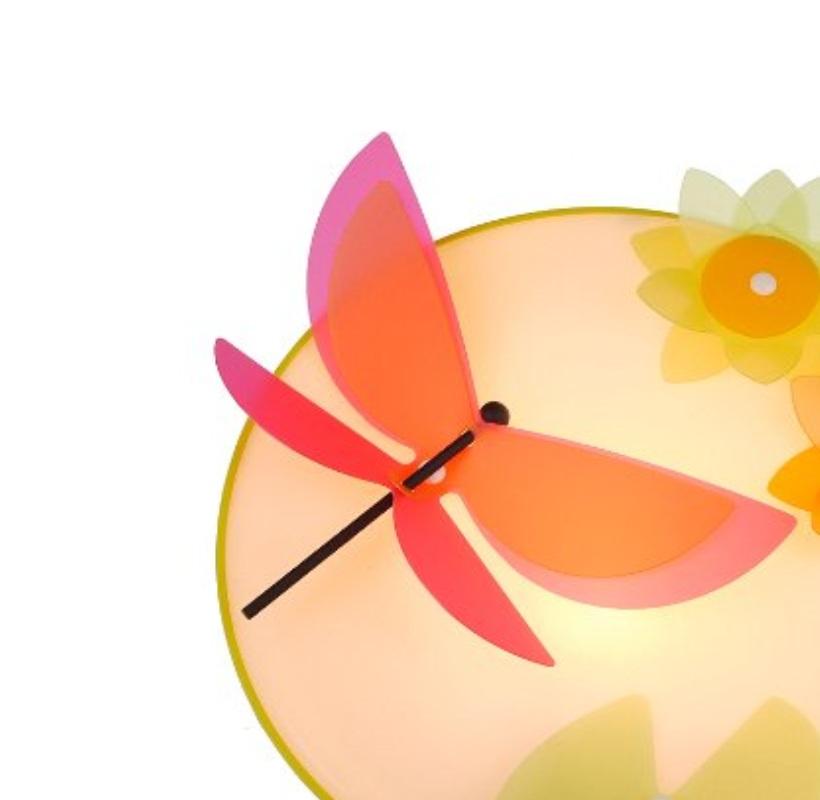 LHG Kinder-Wandleuchte mit roter Libelle und Sonnenblumen
