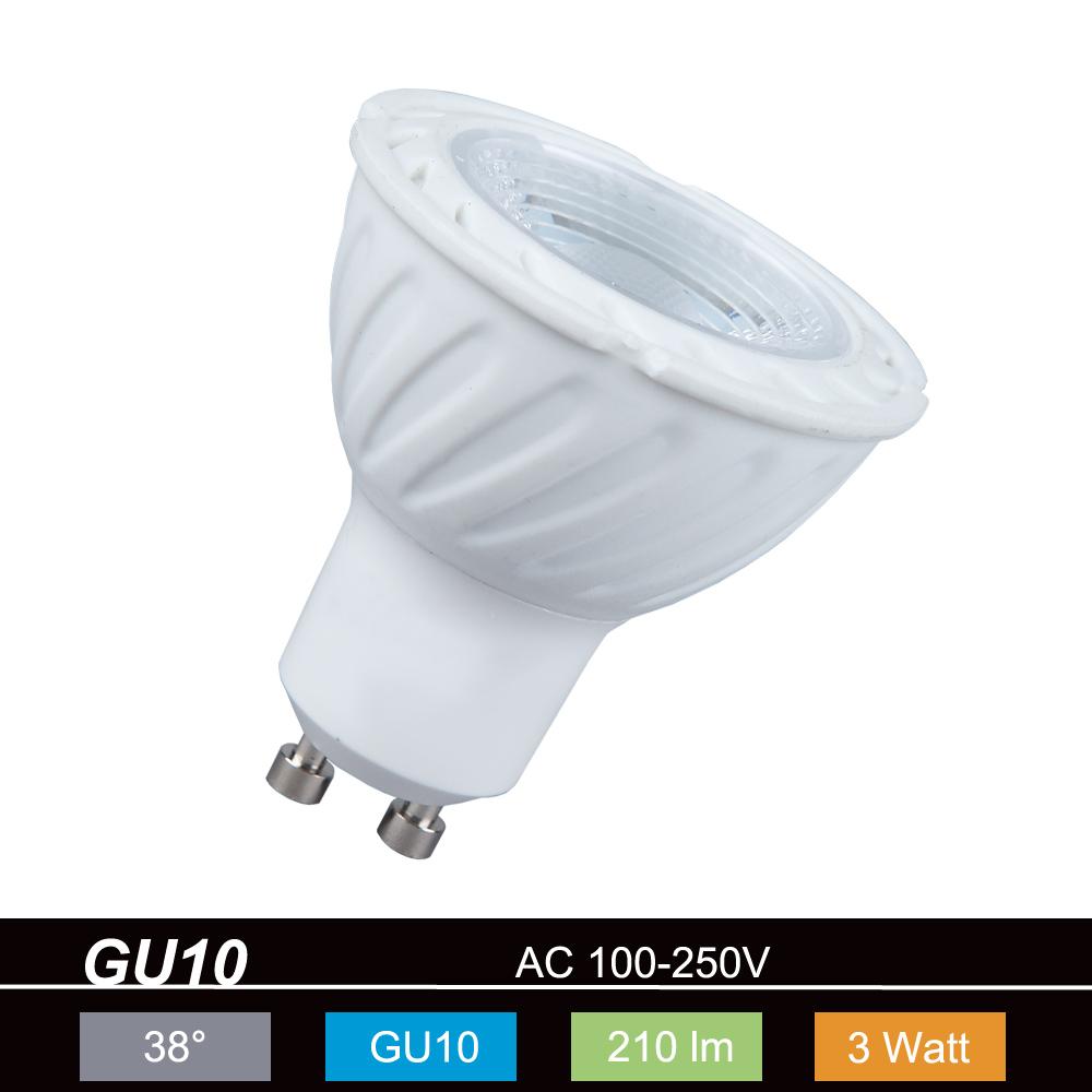 Klemm-Spot in Nickel-satiniert - inklusive GU3 LED-Leuchtmittel - 3Watt - warmweiß 2700K 230V 210lm 450cd - 38°