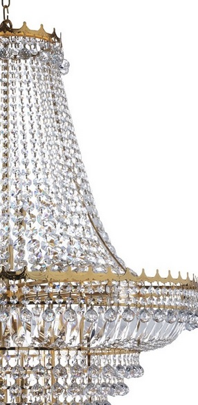 Kronleuchter 19-flg. Versailles, Kristallglas, 2 Oberflächen