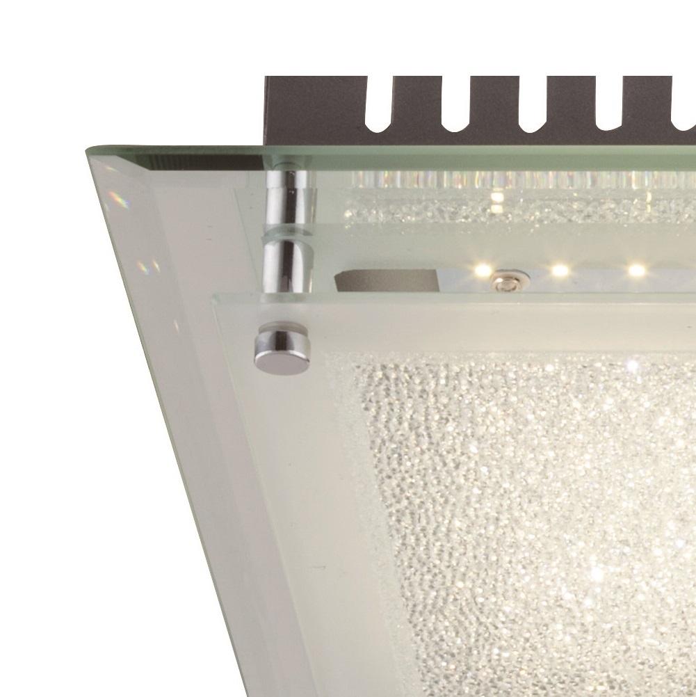 LED Deckenleuchte, chrom, quadratisch, 34x34cm, modern, Design