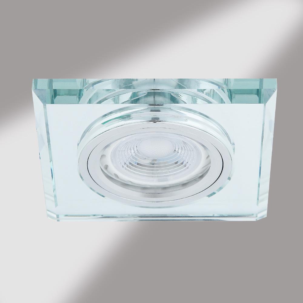 LHG LED Einbaustrahler, 1er Set, Glasrahmen eckig, inkl. LED GU10 5W