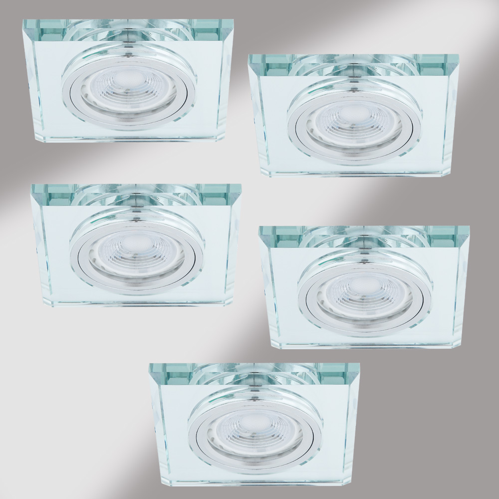 LHG LED Einbaustrahler, 5er Set, Glasrahmen eckig, inkl. LED GU10 5W