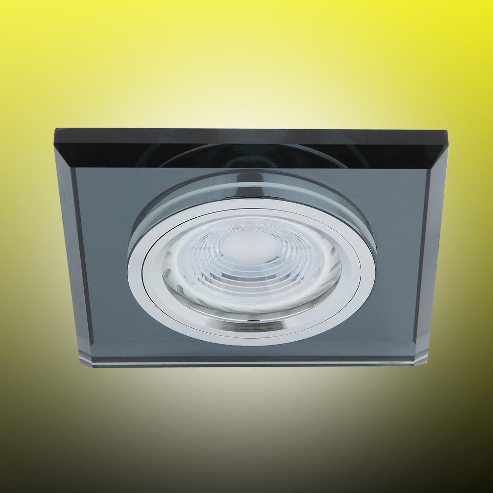 LED Einbaustrahler, Glas schwarz, eckig, 1er Set, inkl. LED dimmbar