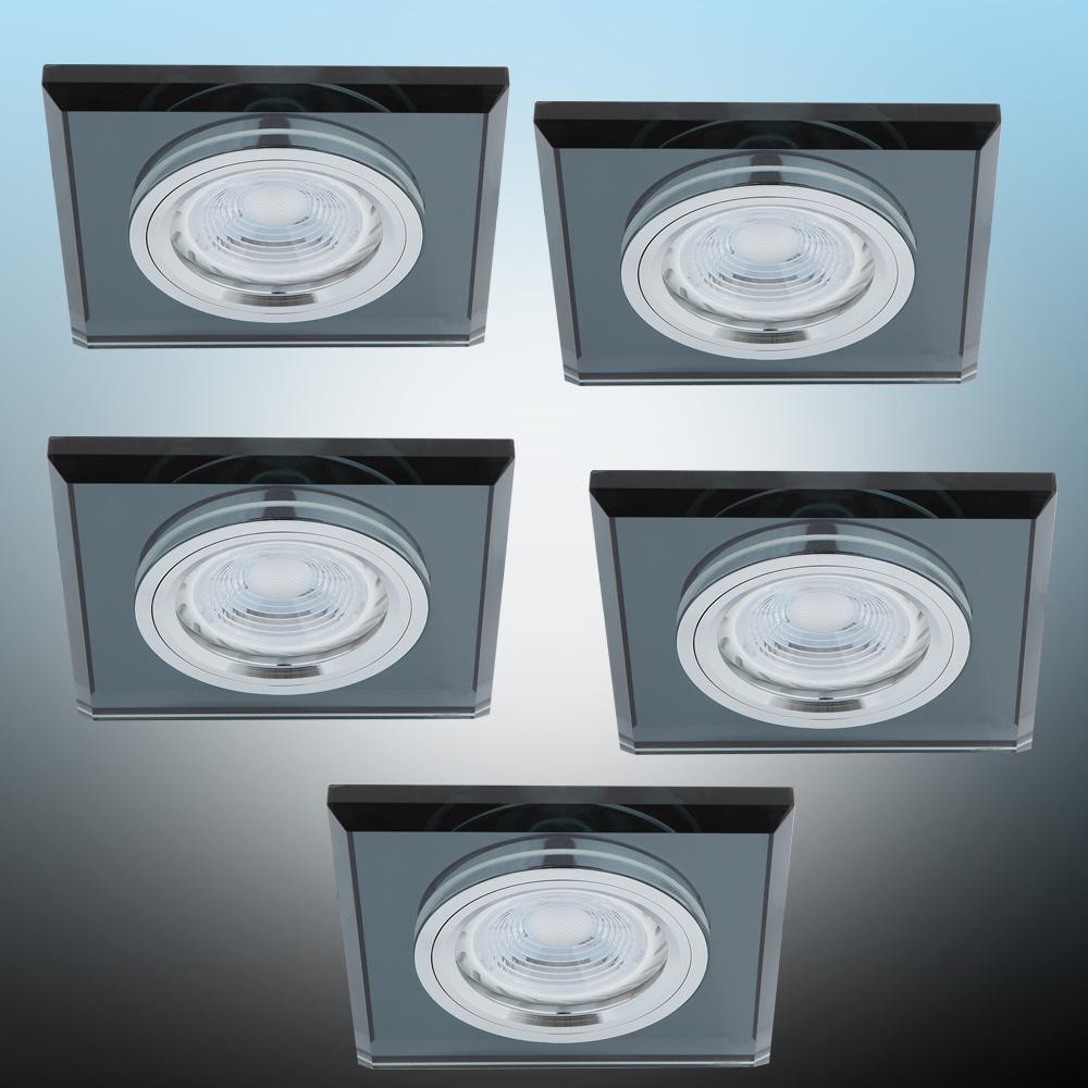 LHG LED Einbaustrahler, Glasrahmen schwarz, eckig, 5er Set, inkl. LED 5W