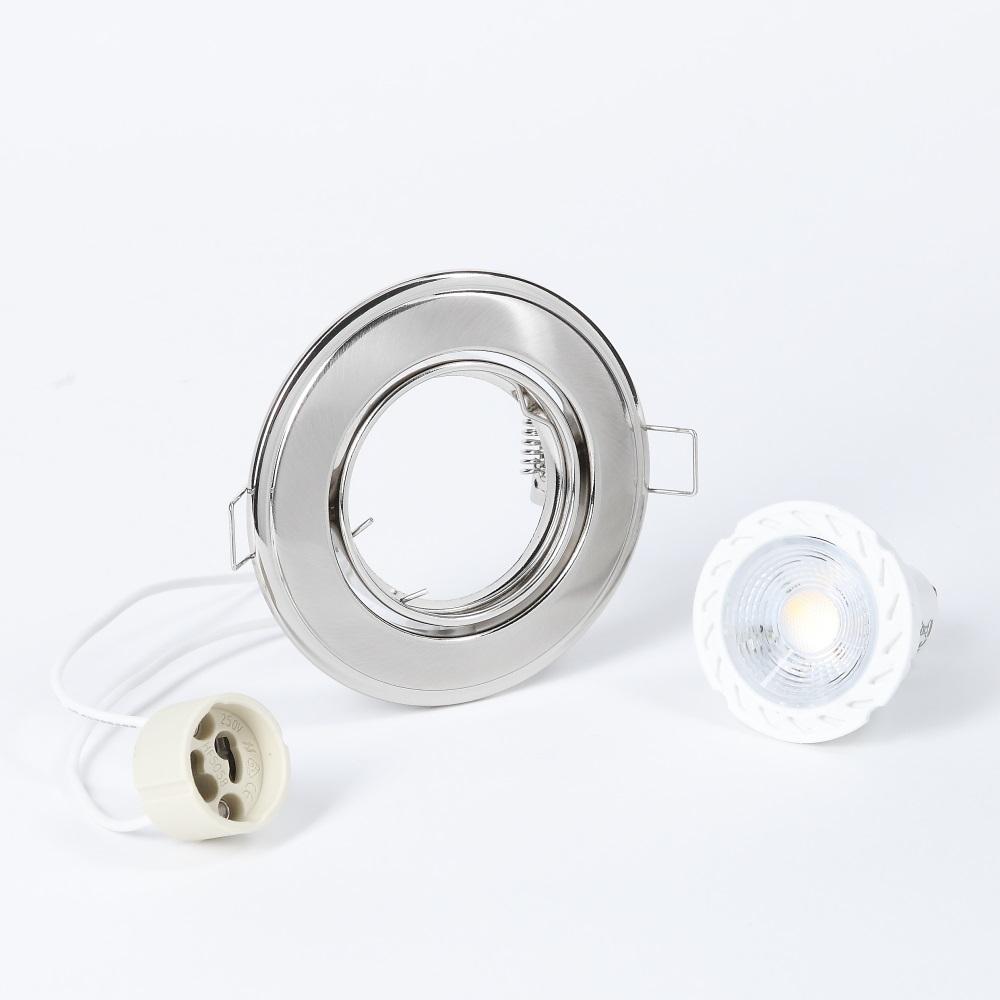 LHG LED Einbaustrahler, Nickel, rund, Schwenkbar, dimmbar, 3er Set