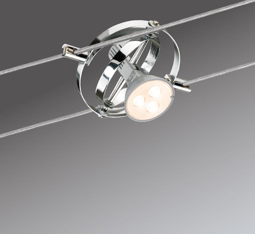 LED Komplett-Seilsystem Cardan Chrom, 6 x 4Watt GU5,3
