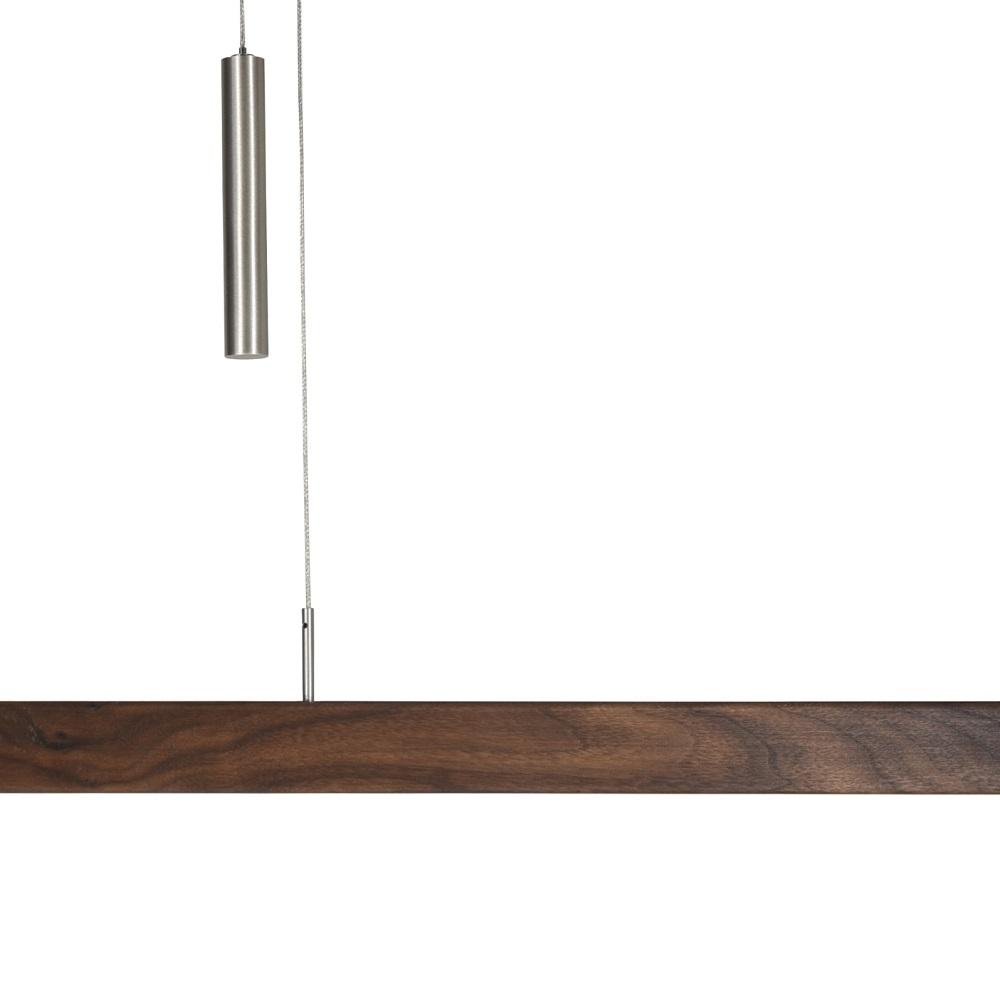 LED Pendelleuchte, Massivholz, Nussbaum, L= 121 o. 160cm, dimmbar