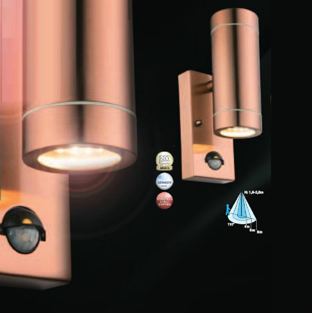 LED Wandstrahler Kupferfarben Perry I mit Bewegungsmelder