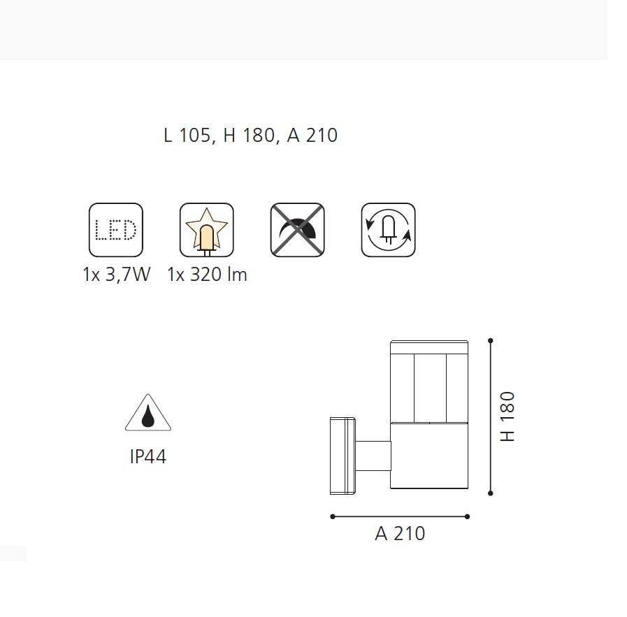 LED-Außenwandleuchte aus Edelstahl, LED 3,7Watt