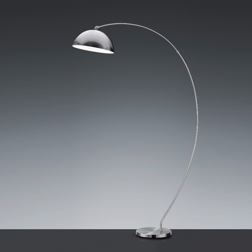 LED-Bogenstehleuchte in Nickel-matt - dimmbar - inklusive LED-Leuchtmittel