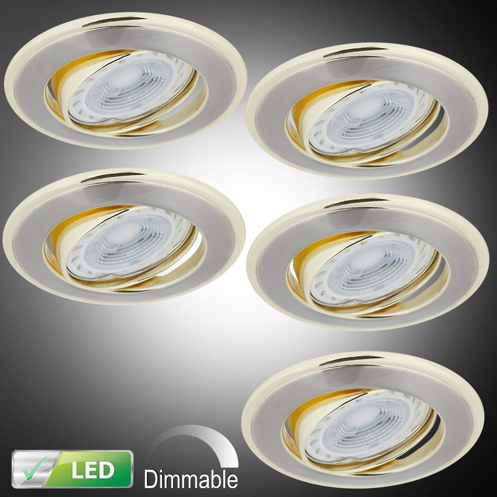 LHG LED-Einbaustrahler rund, goldene Elemente, dimmbar,Set, inkl. GU10 5W