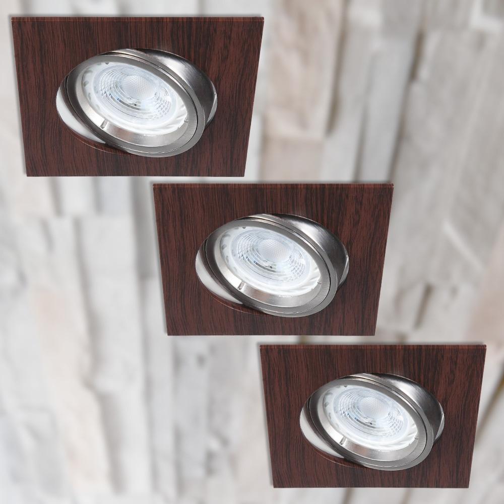 LHG LED-Einbaustrahler, eckig, Wengeholz, 3er-Set, schwenkbar, Dimmbar