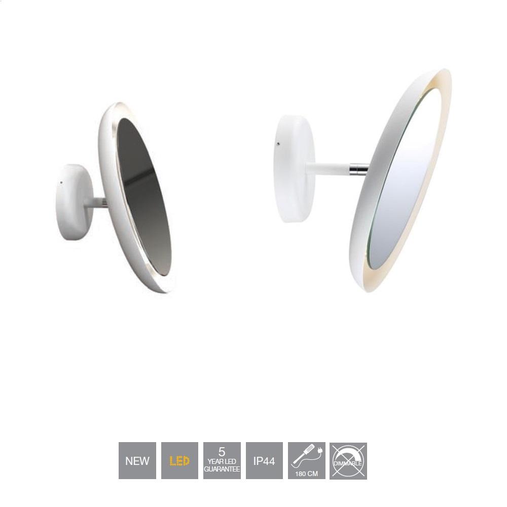 LED-Kosmetikspiegel, weiß, schwenkbar, Spritzwassergeschützt