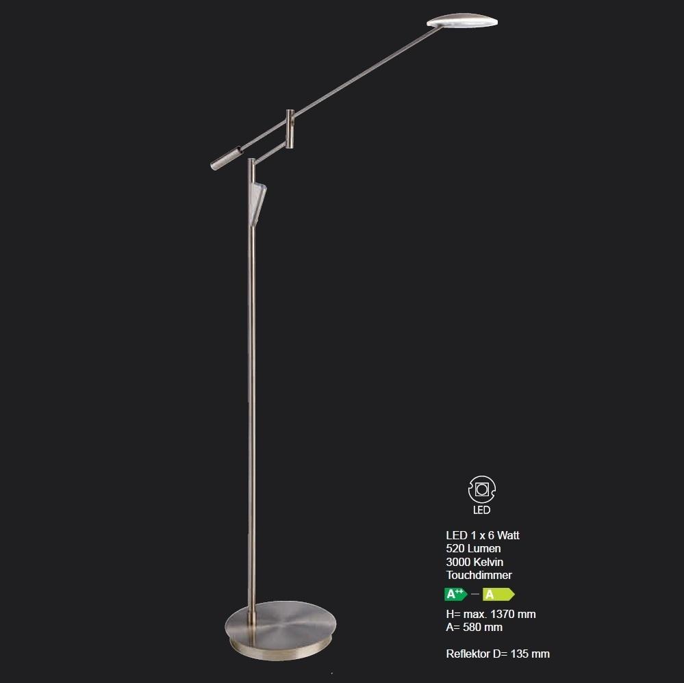 LED-Leseleuchte Capri mit Touchdimmer in Nickel matt