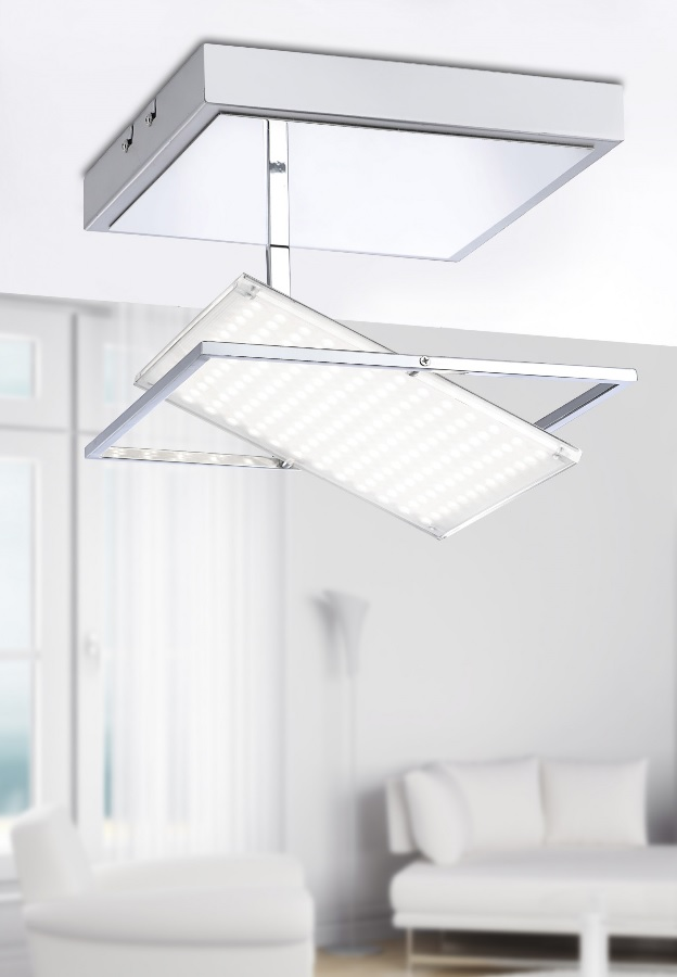 LED-Leuchte aus Chrom - 30° schwenkbar - dimmfähig - 25,5 x 25,5 cm