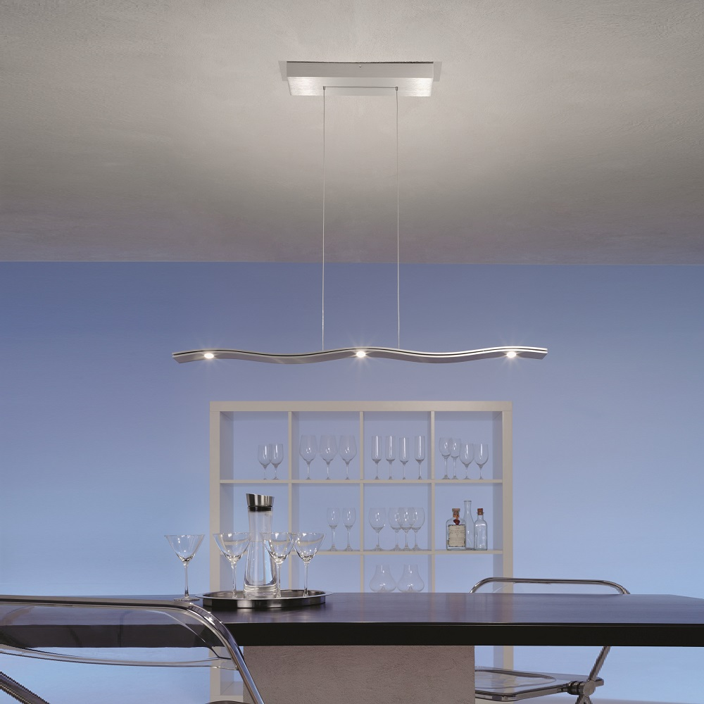 LED-Pendelleuchte Fluid in Aluminium geschliffen, 100 cm