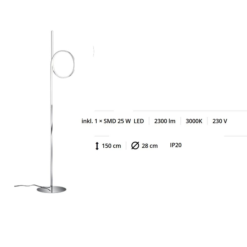 LED-Stehleuchte Chrom / Acryl weiß mit Fußdimmer, LED 25W