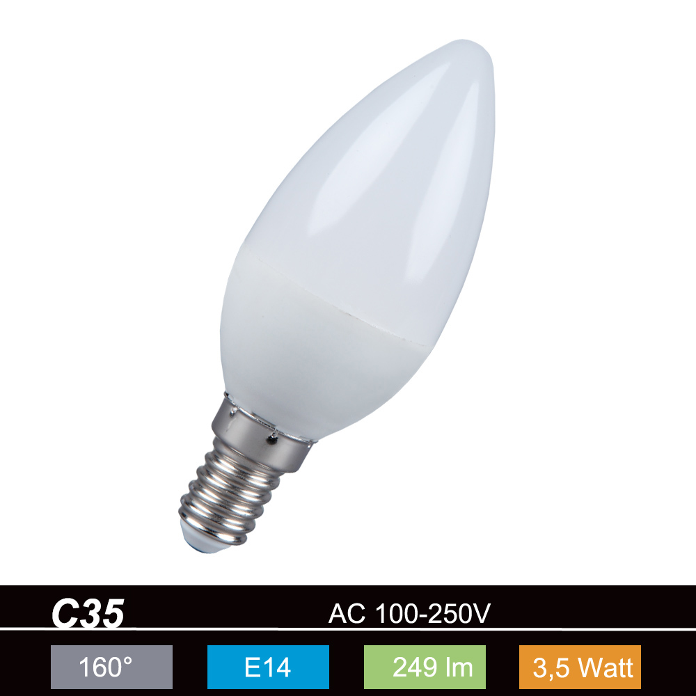 LHG 5er-Set E14 LED Leuchtmittel Kerzenform Glühlampe 3,5W opal 2700K nicht dimmbar