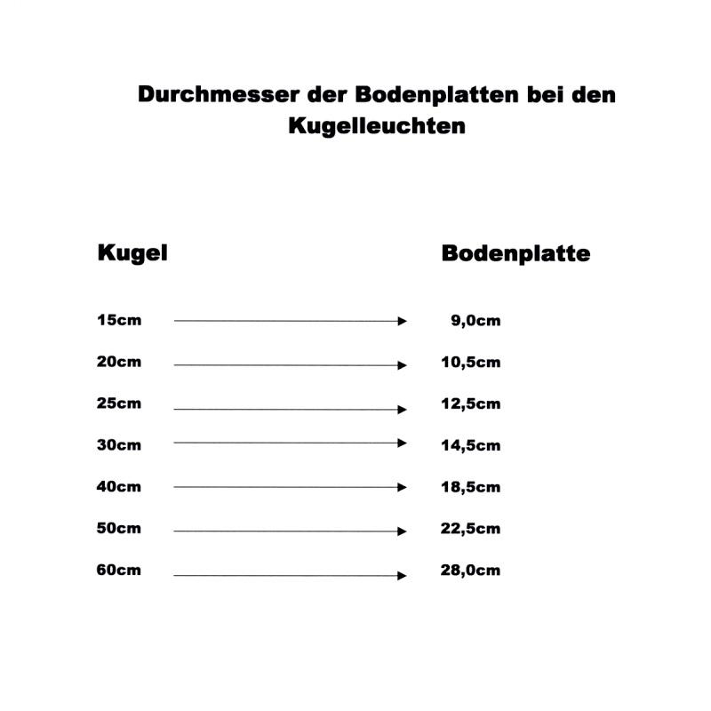 LHG Kugelleuchten Außen, 4er Set, D= 15, 20, 25 & 30 cm, mit Kabel