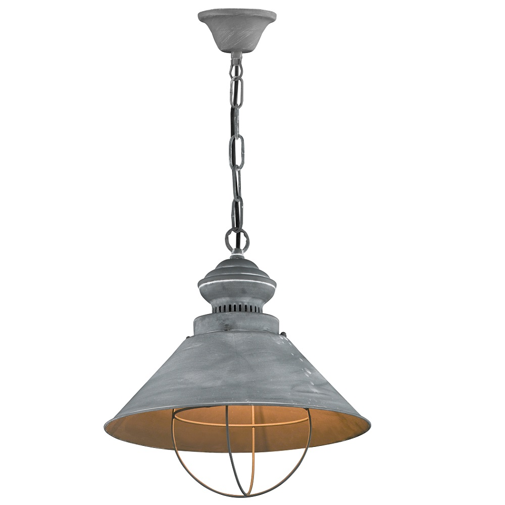 Pendelleuchte Basket aus Metall, used Optik, Industrial - betonfarbig, Fassung E27
