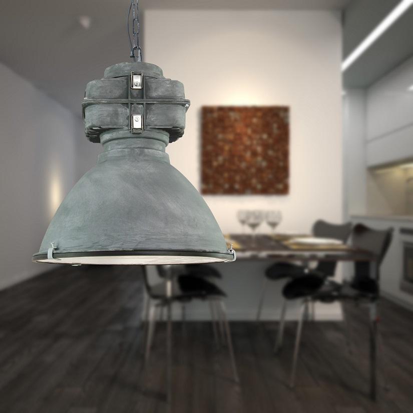 Pendelleuchte -  Fabrikleuchte - Metall antik grau
