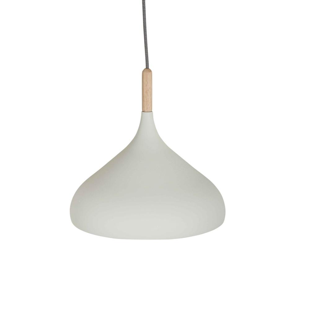 Pendelleuchte Metall und Holz Ø 33cm weiß