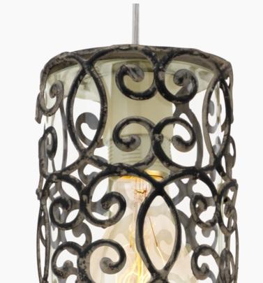 Pendelleuchte Vintage Stil, klares Glas mit Metall-Schmuck