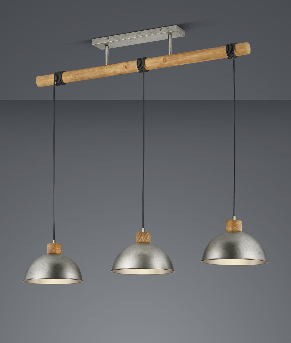 Pendelleuchte, Industriestil, Metall, Holzoptik, 3-flammig, Nickel