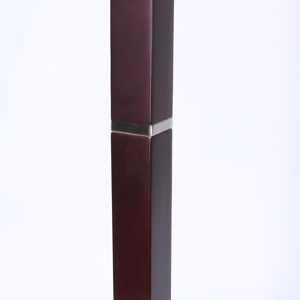 Stehleuchte aus Holz Mahagoni mit weißem Stoffschirm