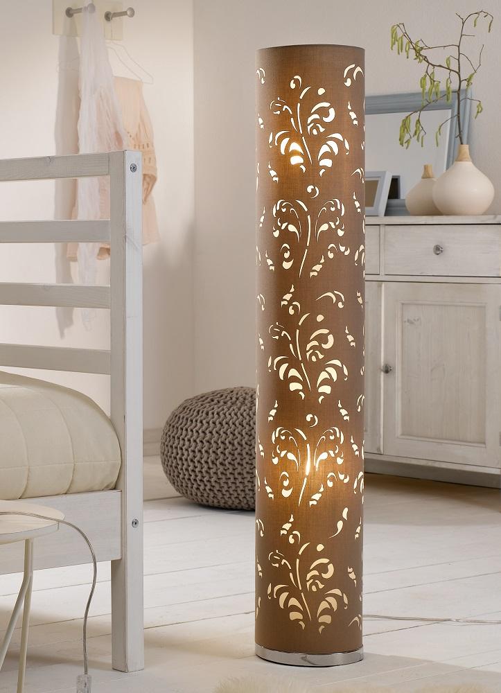 Stehleuchte, 2-flammig, florales Dekor, Stoff, Weiß o. Cappuccino