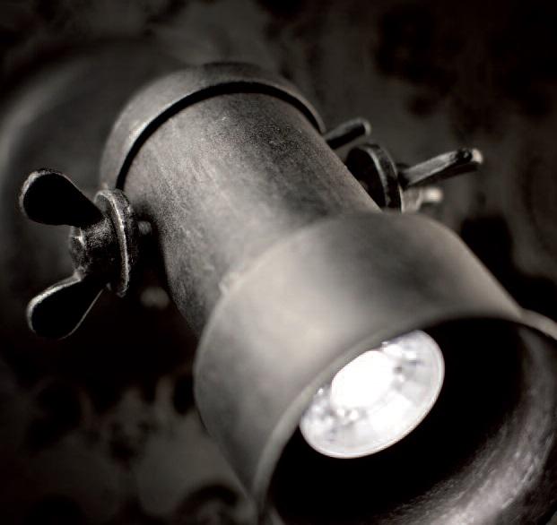 Strahler 1-flg. Industriedesign in Eisen-natur