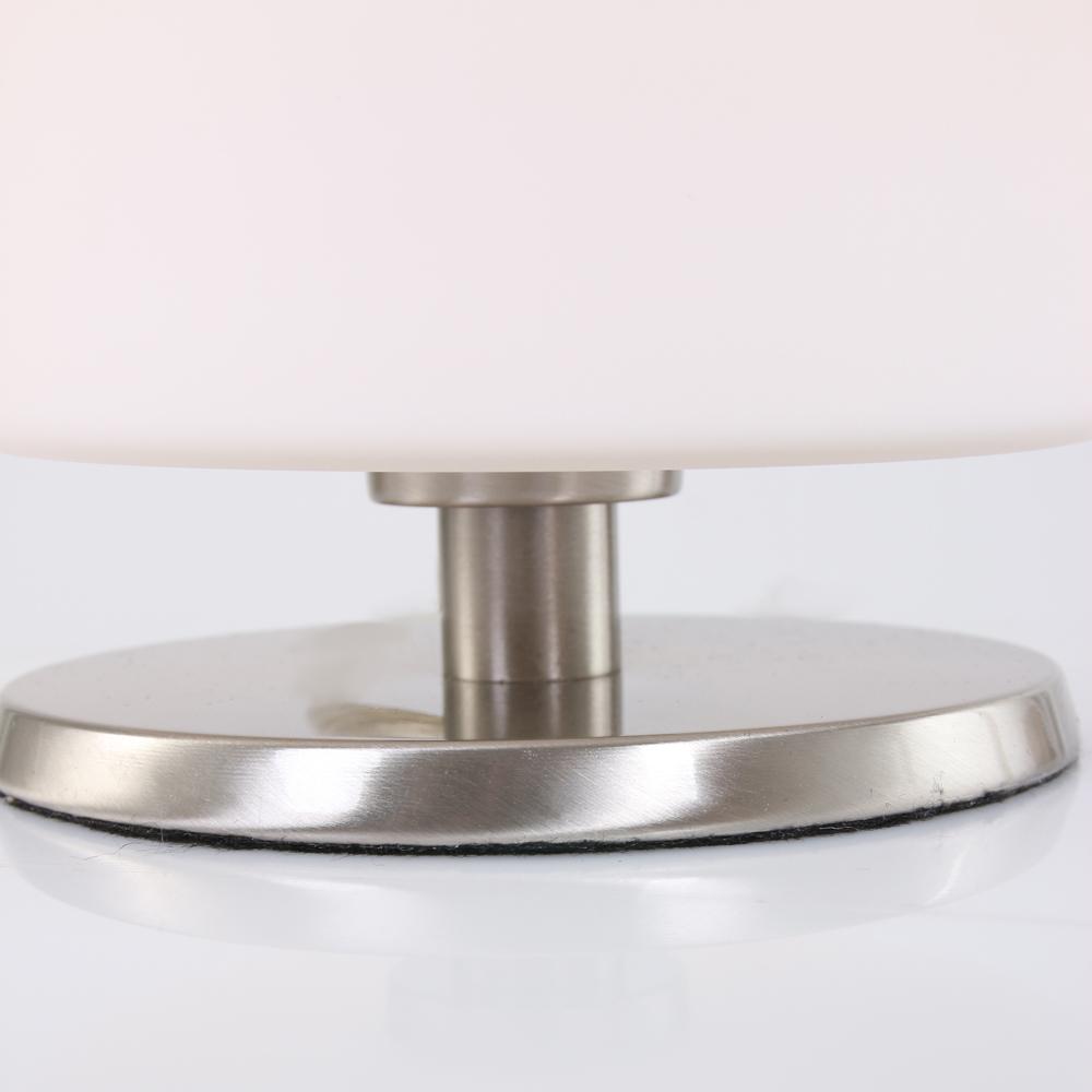 Tischleuchte, stahlfarbig, Glas weiß, Nachttischlampe H 23,5 cm, Touchdimmer, modern