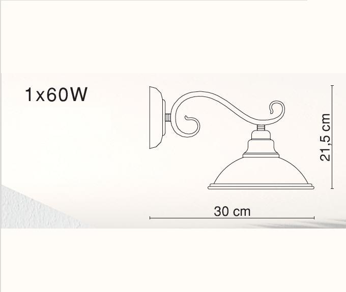 LHG Wandleuchte in Altmessing mit Glasschirm in Amber - inklusive Leuchtmittel E27 60Watt