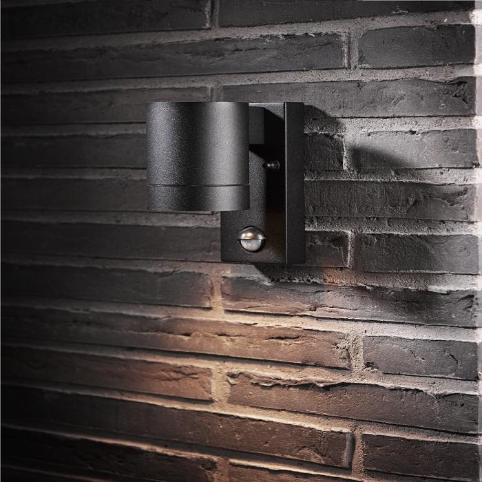 Wandleuchte Downlight mit Sensor, Schwarz - 1-flammig