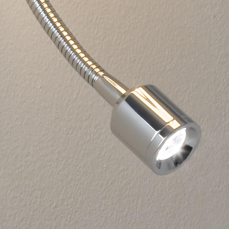 LHG Wandleuchte mit Stoffschirm, in chrom mit LED-Lesearm - inklusive Leuchtmittel