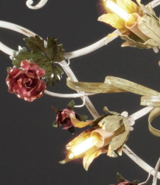 Wunderschöne Florentiner Deckenleuchte - Handarbeit aus Italien - Rosendekor - 16-flammig