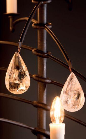 12-flg. Hängeleuchte mit Bergkristall, Lackierung old copper