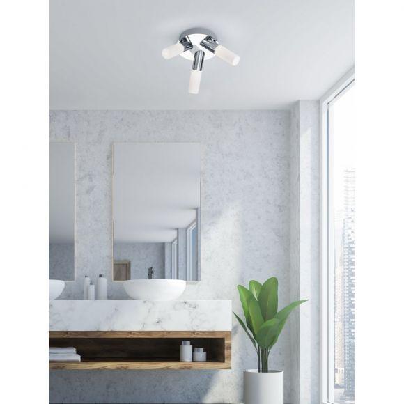 3 Flammige Led Badezimmer Deckenleuchte Ip44 Silber Chrom Inkl 3x Led 4w Wohnlicht