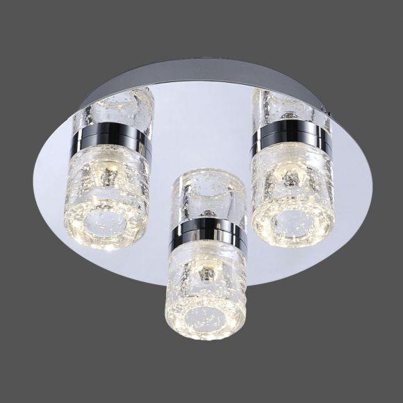 3-flg. LED-Deckenleuchte Chrom 25cm, IP44, 3x 6W LED