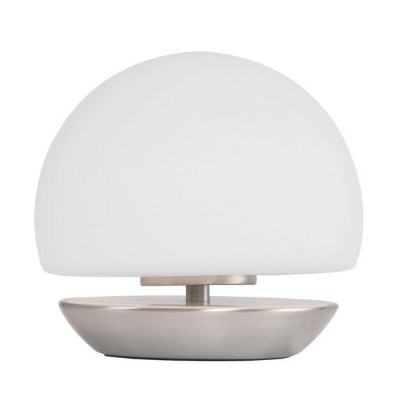 4-stufig dimmbare Kugeltischleuchte aus weißem Glas, Nachttischlampe mit silbernem Fuß, inkl. LED