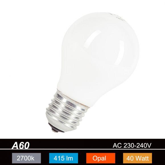 A60  E27 Leuchtmittel opal - 40Watt