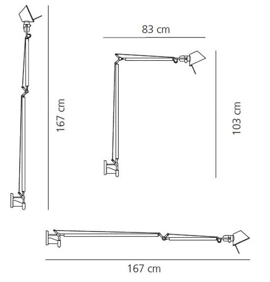 Artemide Tolomeo Braccio Halogen In Aluminium