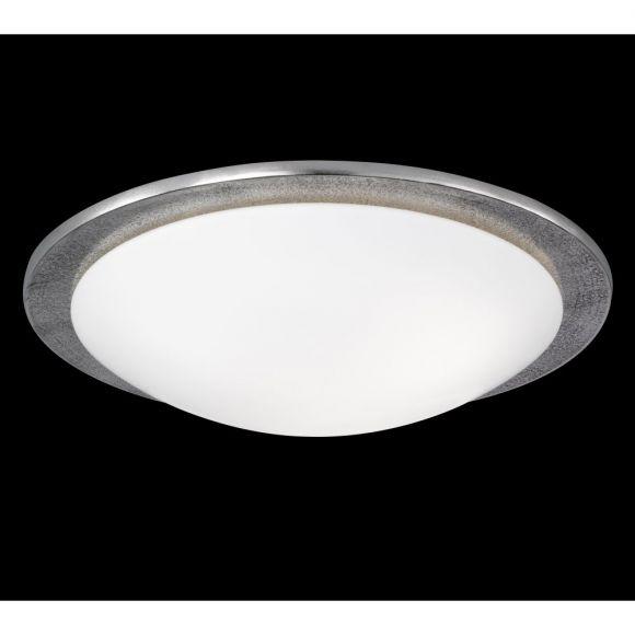 Deckenleuchte 3-flammig, Glas weiß, D= 50 cm, Antik Nickel silber, Fassung: 3x E27 wechselbar