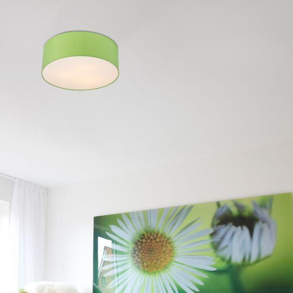 LHG Deckenleuchte, Lampenschirm, rund, Chintz-Stoff, Apfelgrün, D=52cm