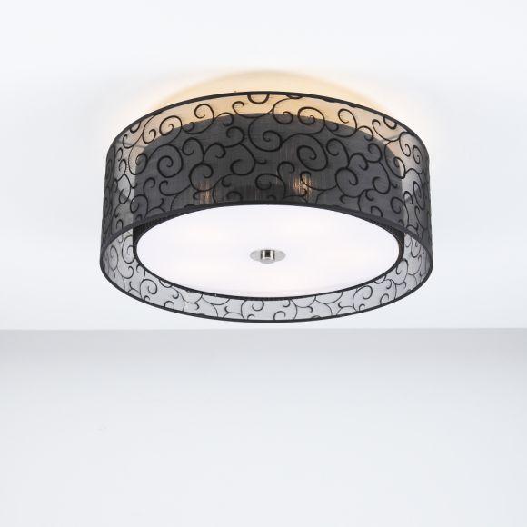 Deckenleuchte, Stoffschirm Schwarz , transparent mit Ornamenten