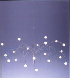 Design-Pendelleuchte Snowball aus Edelstahl , 20 flammig Glasfarbe wählbar