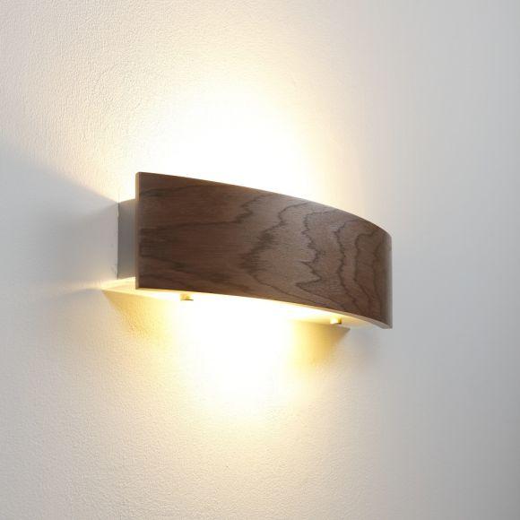 Dimmbare halbrunde Furnierholz Wandleuchte aus dunklem Nussbaum und Glas, Up & Downlight