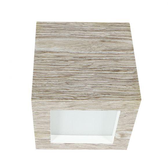Dimmbare Up- and Downlight Wandleuchte in Würfelform aus Eichen-Furnierholz grau 12x12 cm