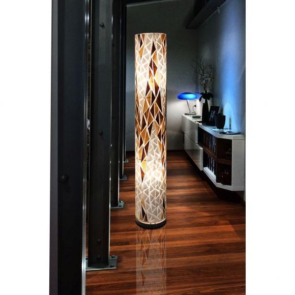 E27 Stehleuchte aus Muschel und Stoff Bali - Muschelleuchte incl. Kabel 25821E 2-flammige Stehlampe multicolor mit Schalter ø 23 cm