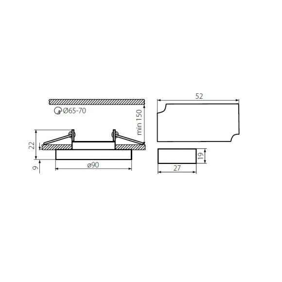 Einbauleuchte, 3er Set, rund, Glasring, inkl. Halogen GU10 35 Watt